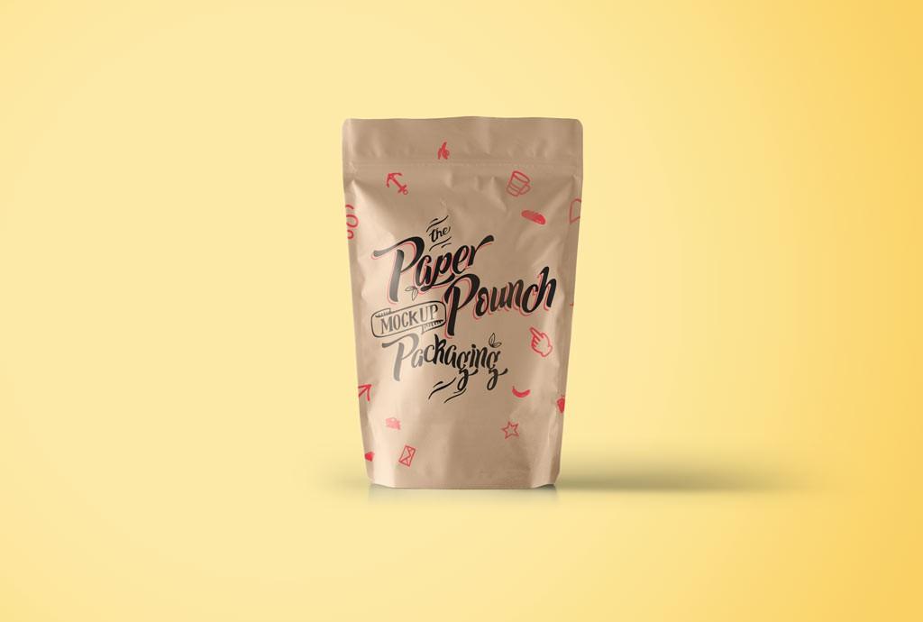 Мокап бумажной упаковки. paper pouch packaging mockup
