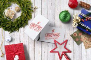 новогодний мокап открытки. christmas hero image mockup