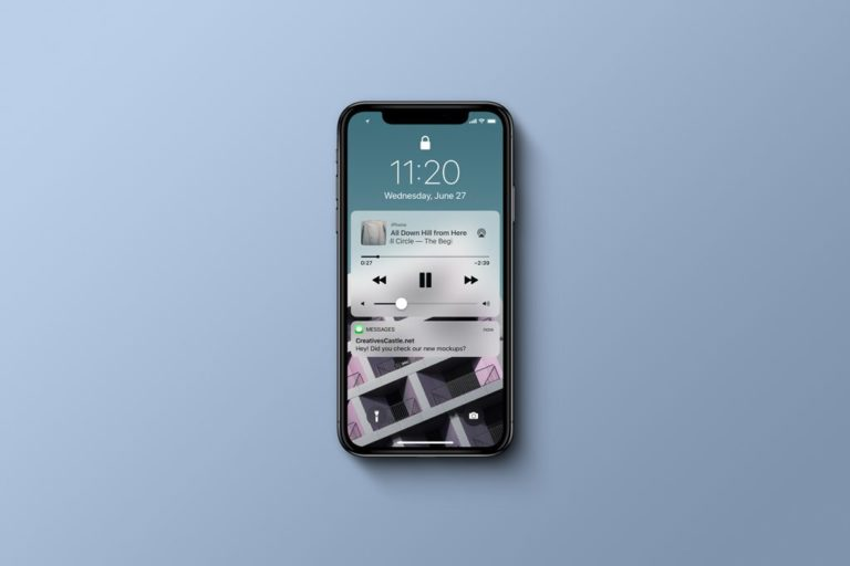 Мокап iPhone X (вид сверху). iphone x top view mockup