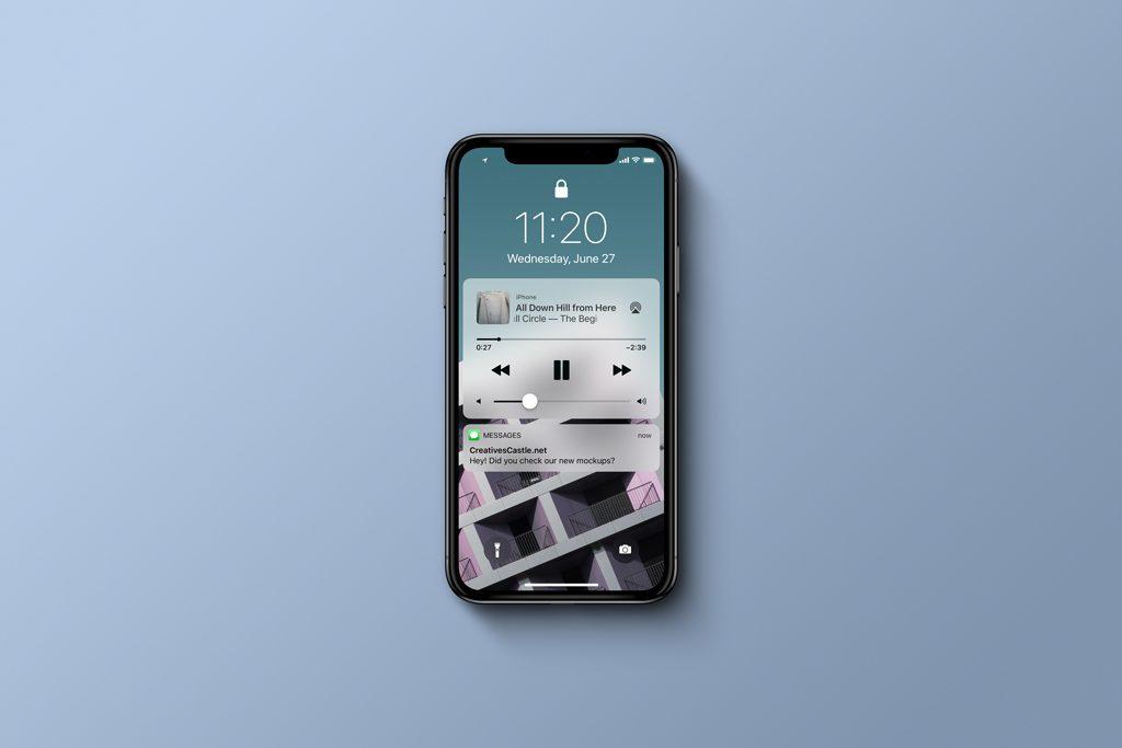 Мокап iPhone X (вид сверху). iphone x top view mockup