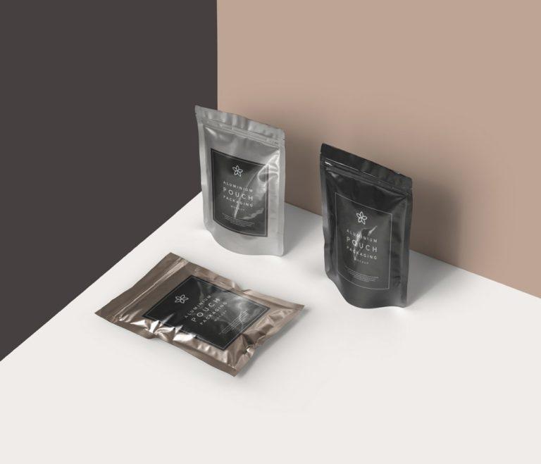 PSD мокап пакетиков для кофе, чая