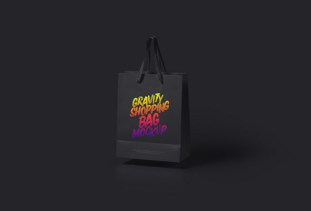 Мокап бумажного пакета. anti-gravity shopping bag mockup