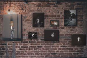 Мокап постеров на фоне кирпичной стены