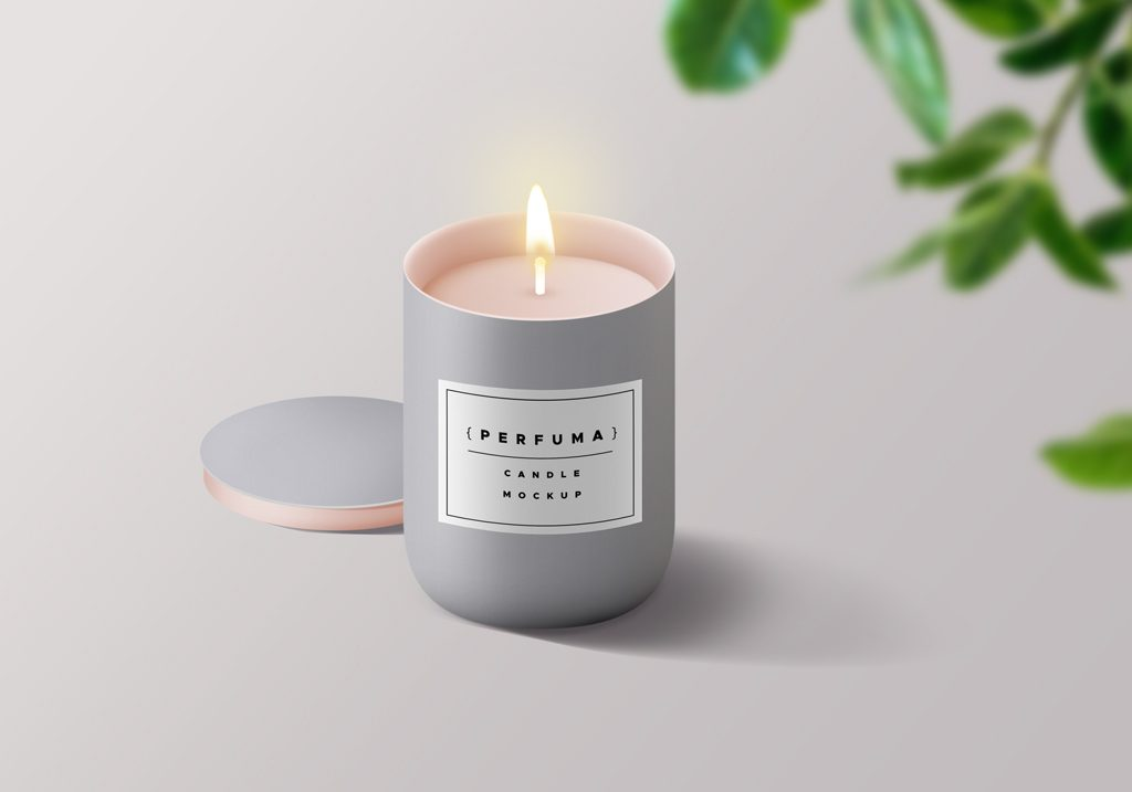 Макет свечи. free candle mockup psd