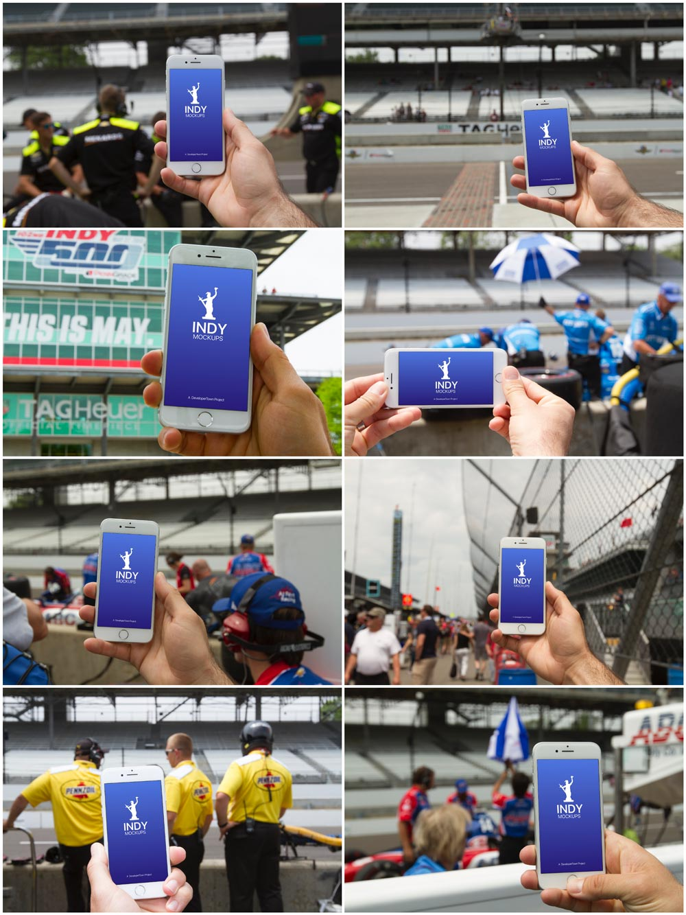 Мокапы iPhone в руке. iphone at a car race mockup bundle