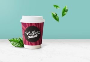 Мокап бумажного стакана. paper coffee cup mockup