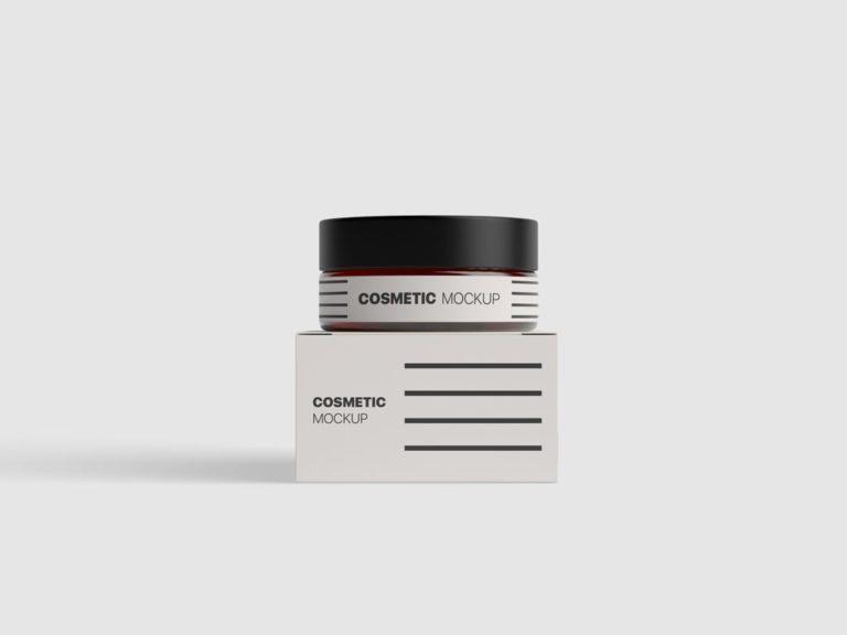 Мокап крема. cosmetic jar with box mockup
