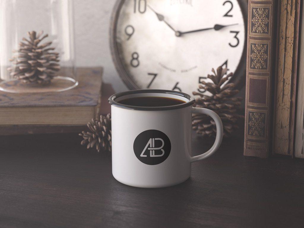 Мокап эмалированной кружки. enamel cup mockup