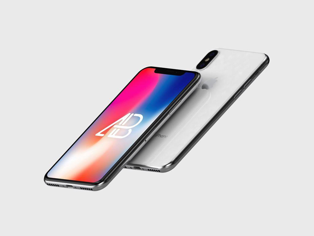 Мокап парящих iPhone
