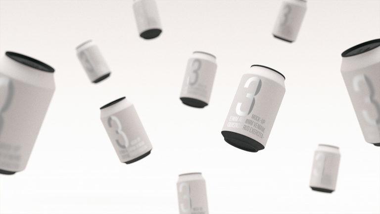 Мокап жестяных банок. flying soda cans mockup