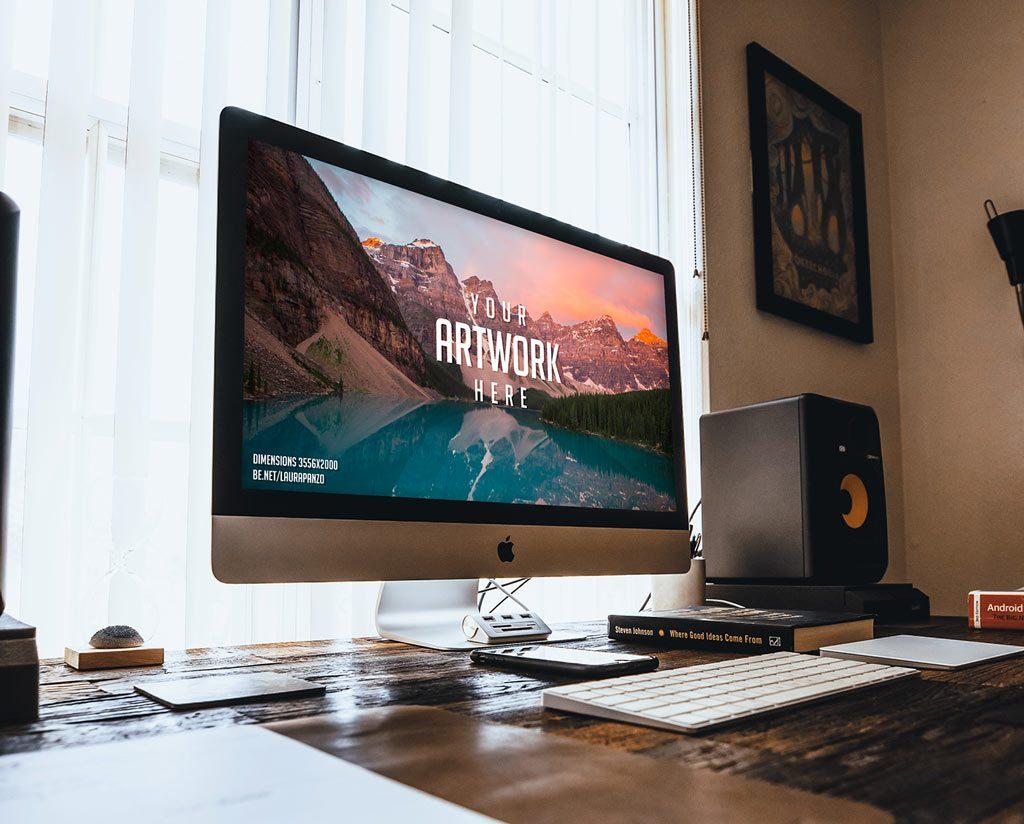 макет iMac в комнате