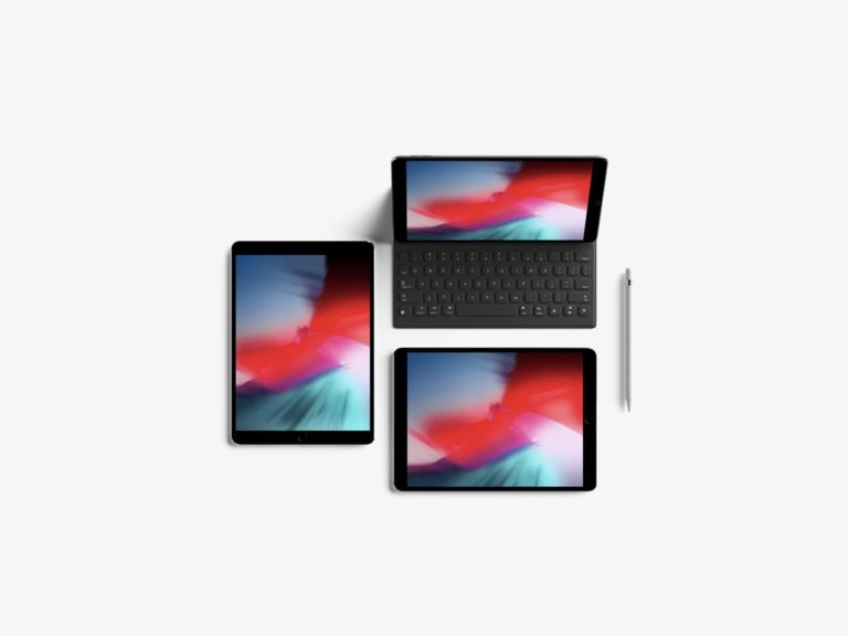 Мокап iPad Pro с клавиатурой и Apple Pencil. ipad pro mockup