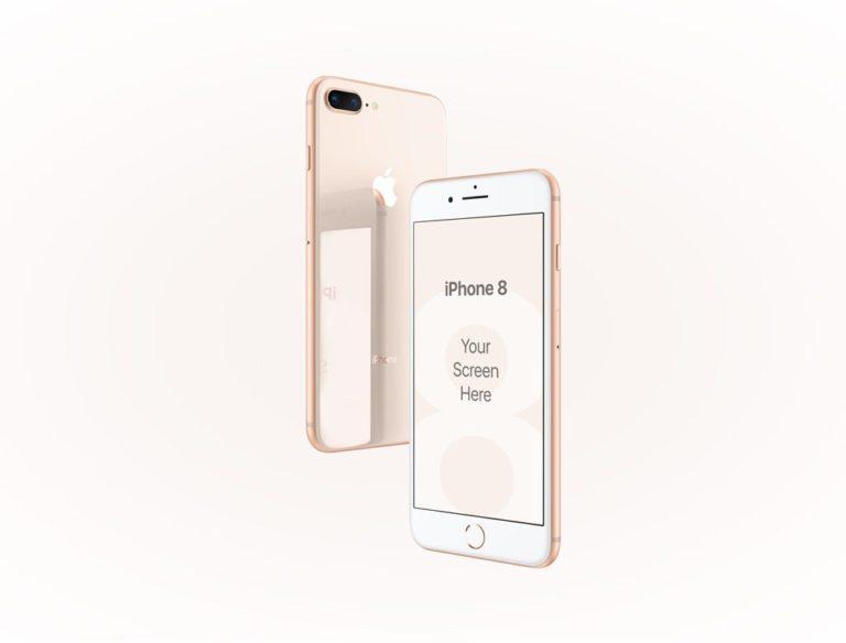 Мокап iPhone 8 золотого