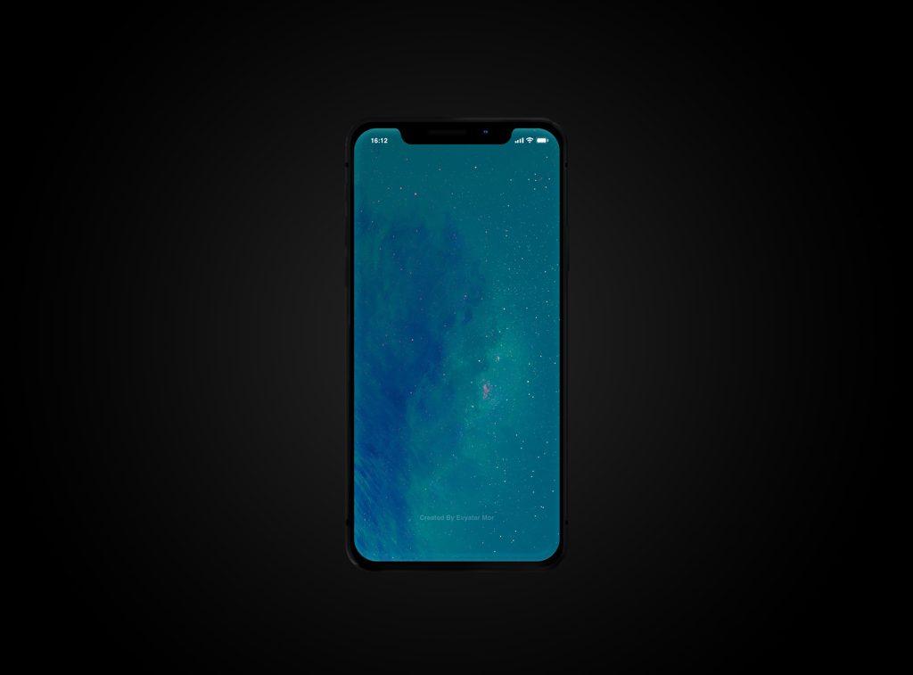 Mockup iPhone X на тёмном фоне