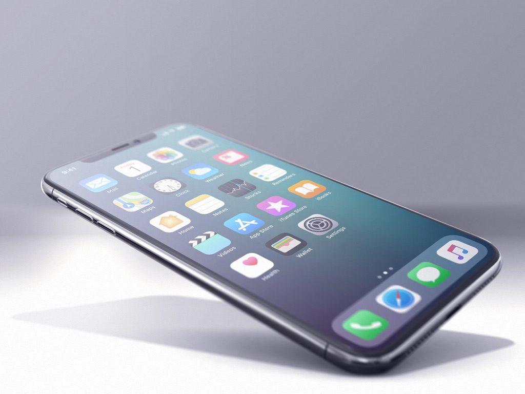 Мокап iPhone X под углом. mockup