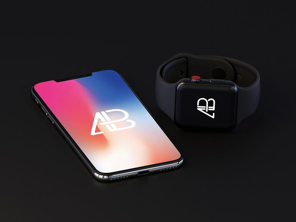 Макет Apple Watch и iPhone X
