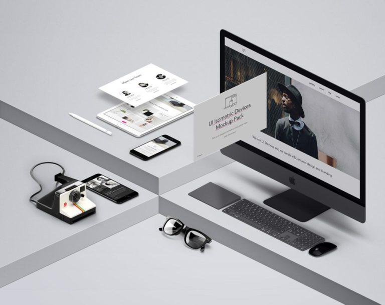 Мокап Apple устройств. isometric devices mockup