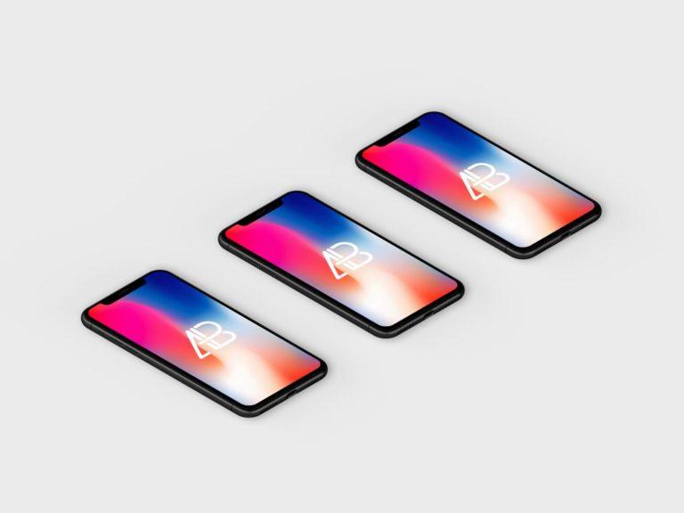 Мокап iPhone X. Isometric iphone x showcase mockup