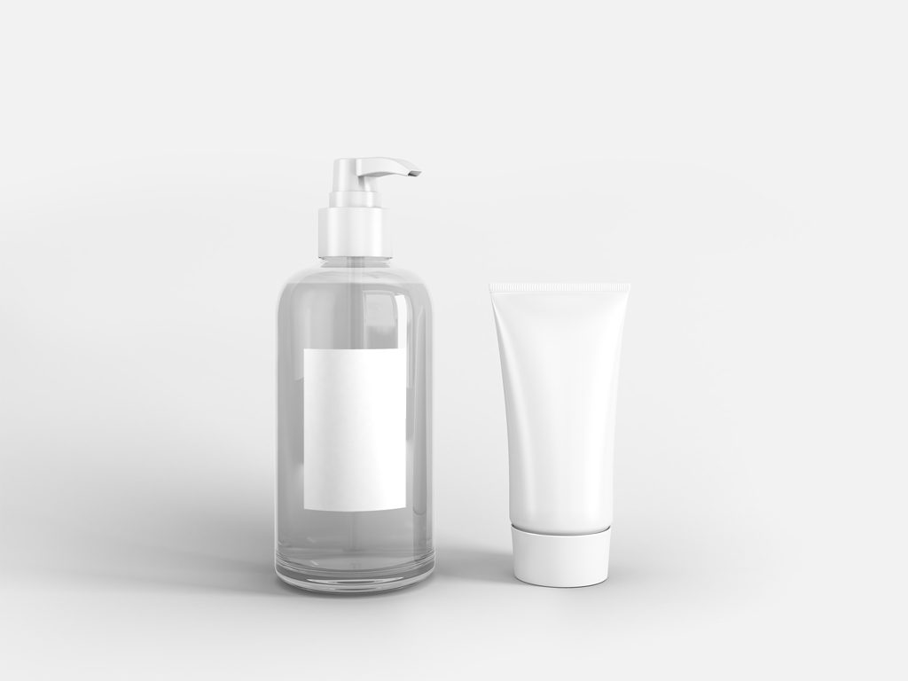 Мокап косметики. liquid soap and cream tube mockup