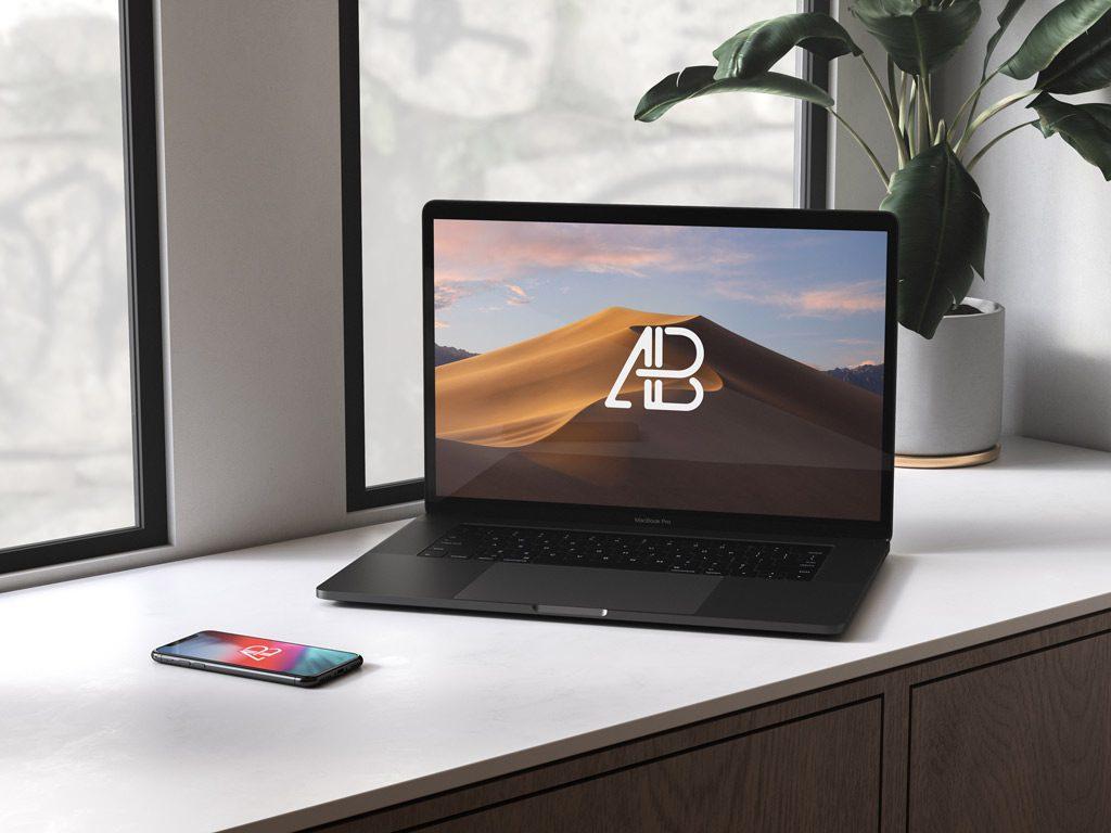 Мокап MacBook и iPhone. black macbook and phone mockup