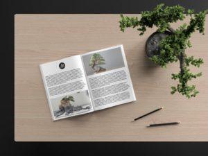 Мокап открытого журнала. catalog magazine mockup