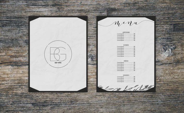 Мокап меню ресторана, вид сверху. menu card mockups