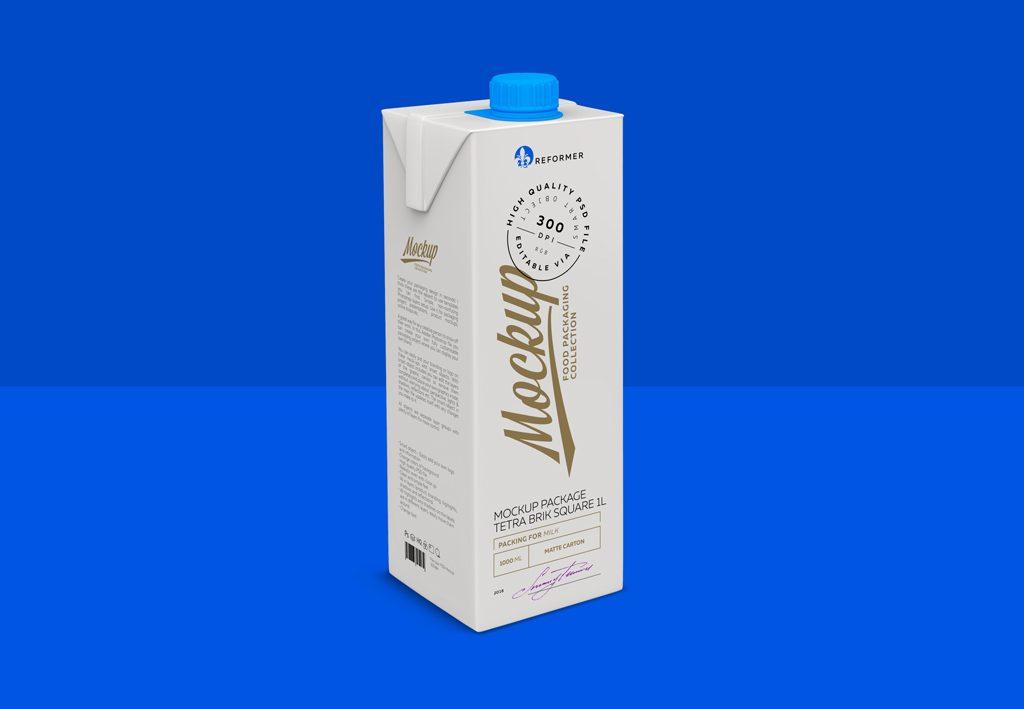 Мокап тетра пак. milk box mockup