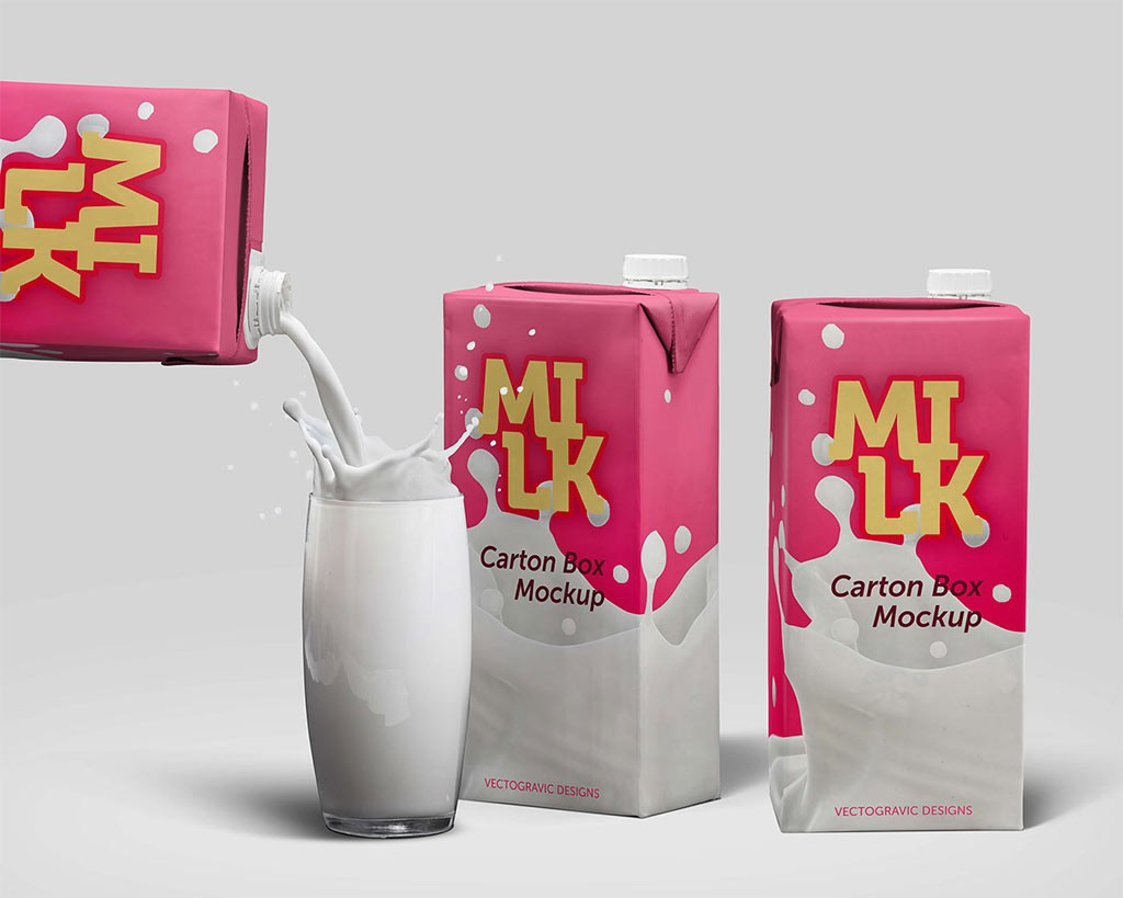 Мокап упаковки молока. milk carton box mockup