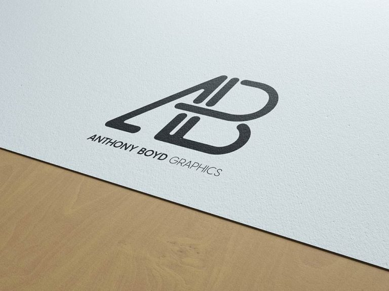 PSD мокап лого на визитке