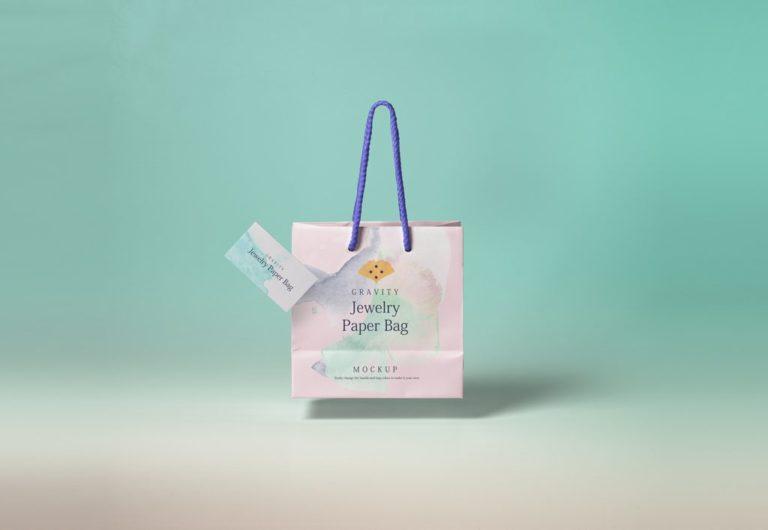 Мокап бумажного пакета и визитки. paper shopping bag mockup
