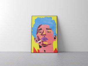мокап плаката у стены. poster mockup