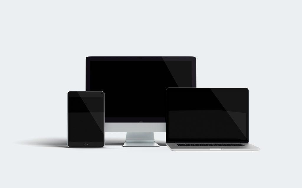 Мокап iPad, iMac и MacBook. Responsive design devices mockup