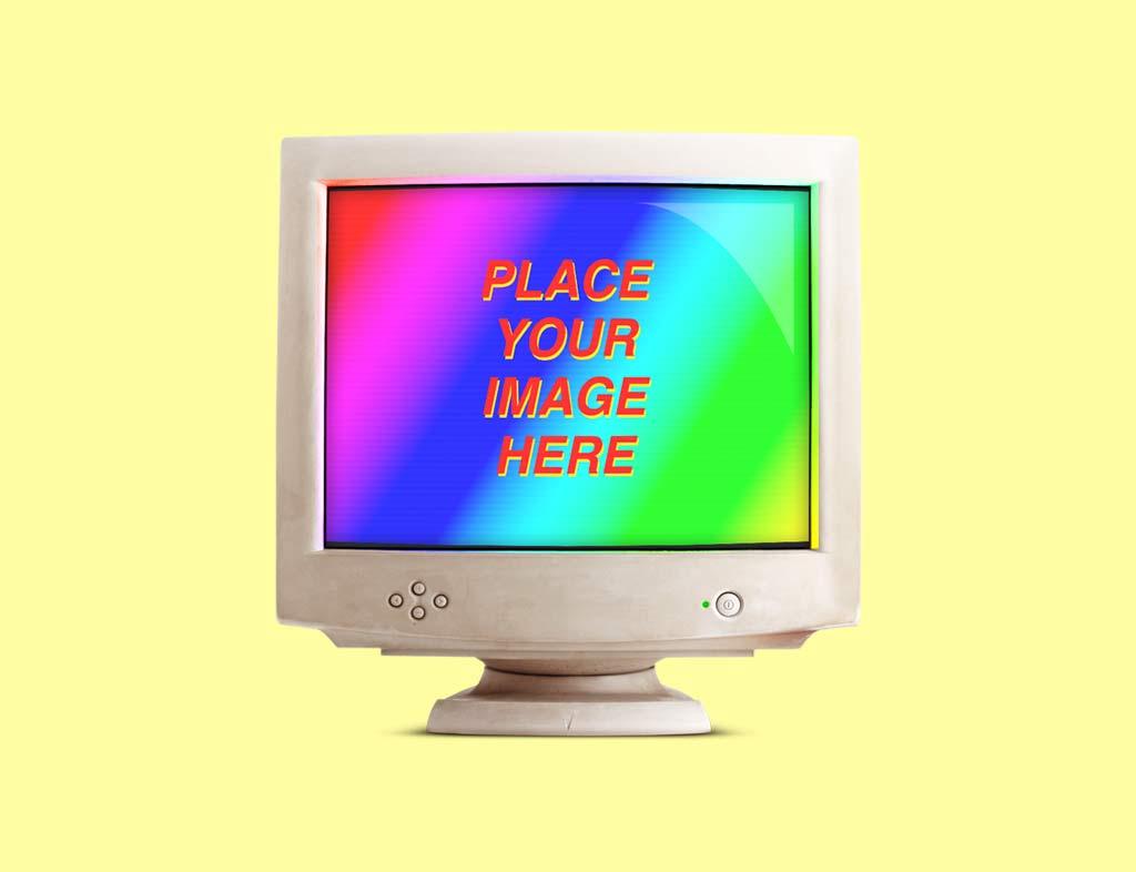 PSD мокап ретро компьютера. retro computer devices mockups