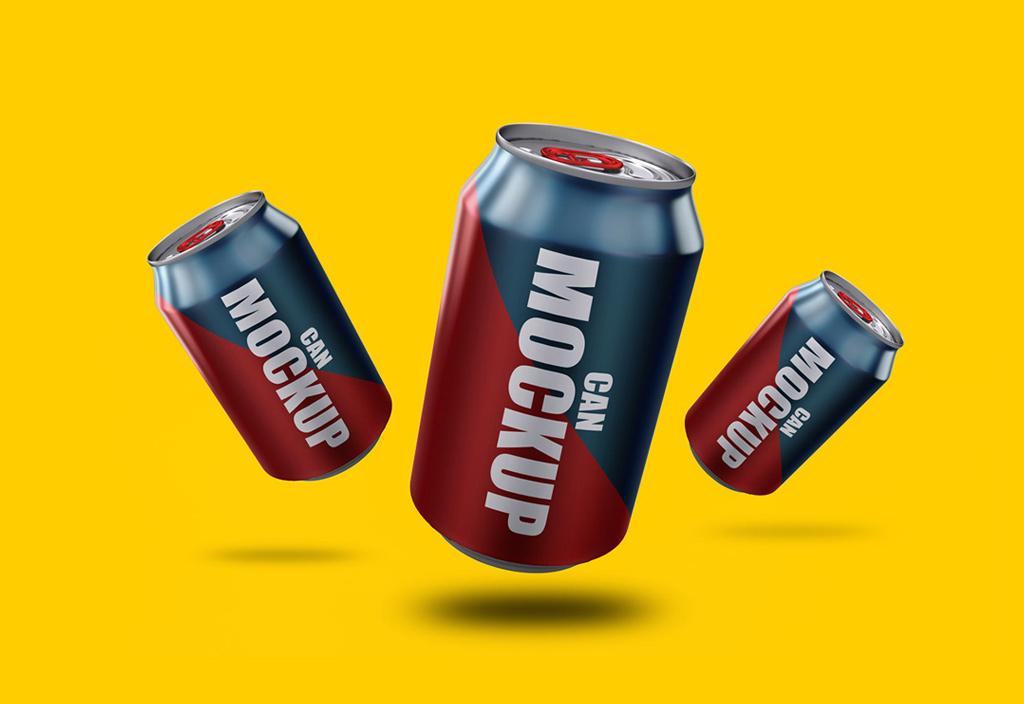 Мокап жестяных банок. soda cans mockup