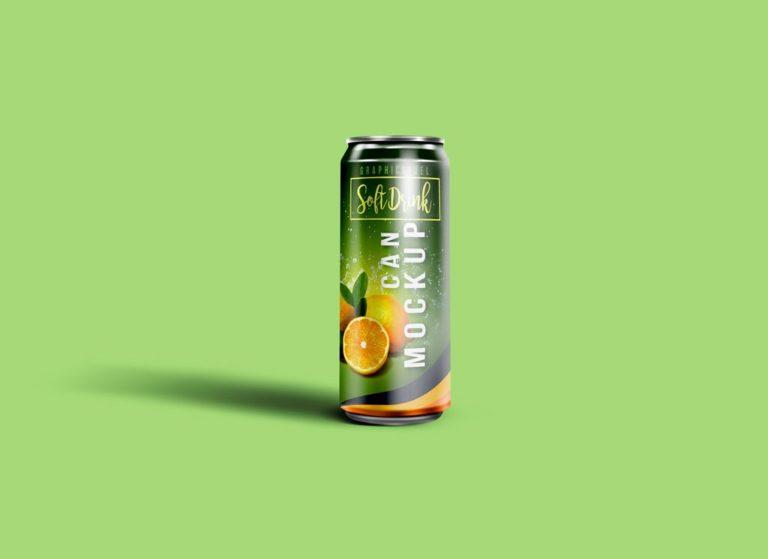Мокап жестяной банки газировки. single soda can mockup