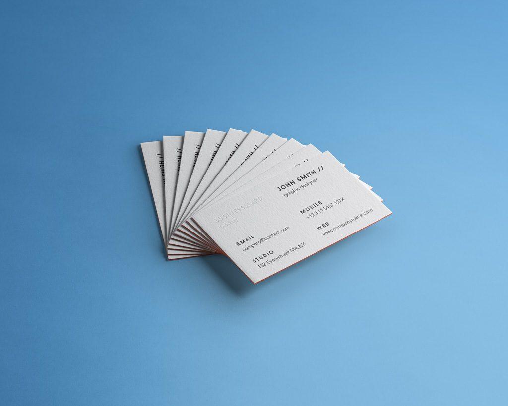 PSD мокап веера визиток