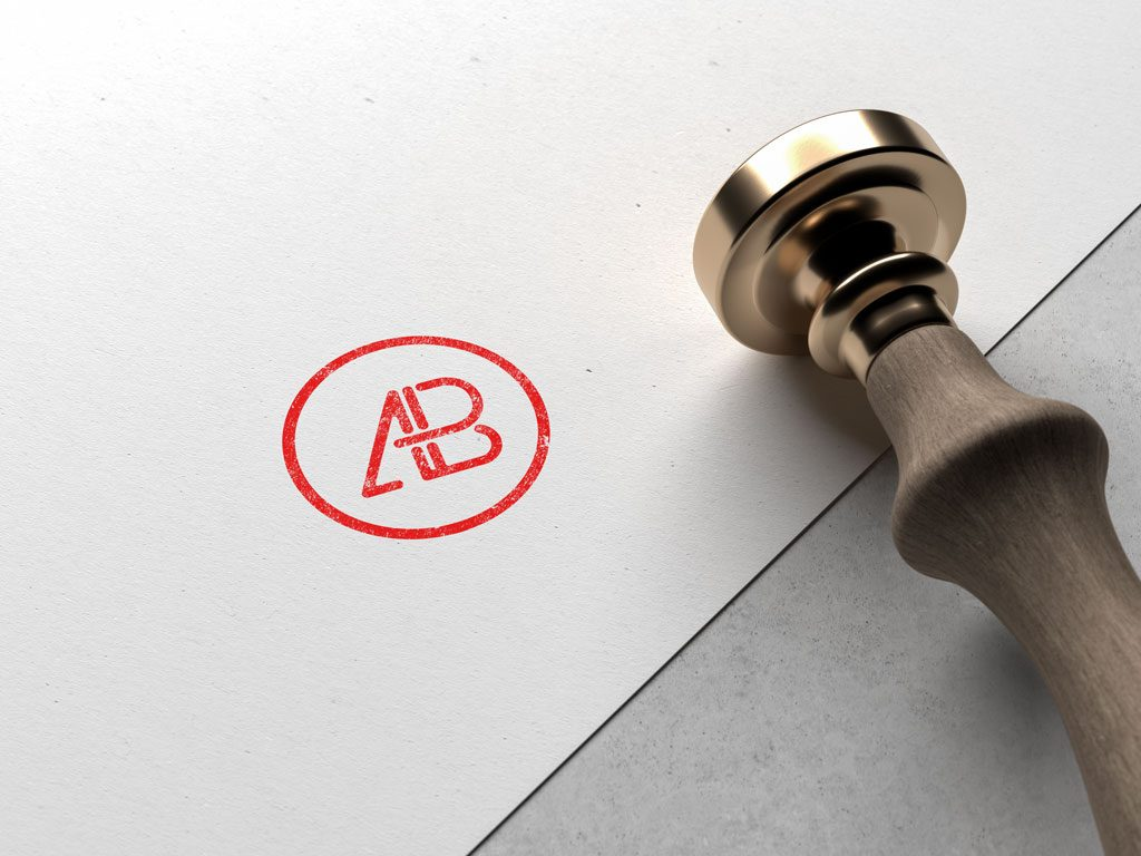 Мокап штампа. stamped logo mockup