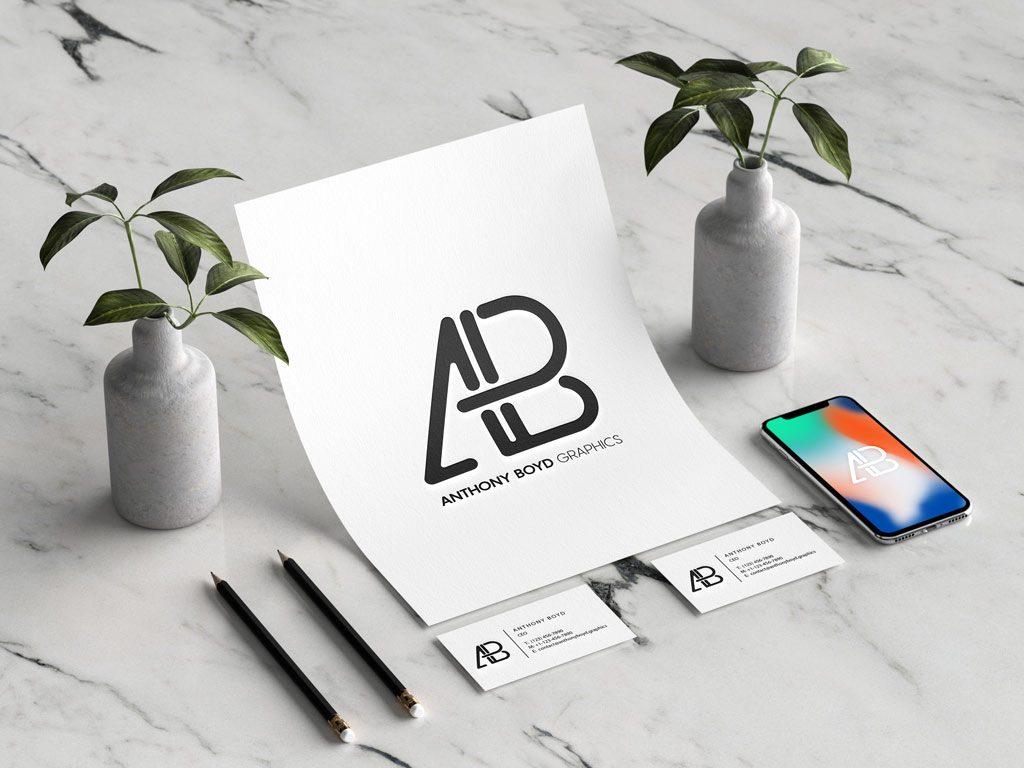Мокап бланка, визитки и iPhone