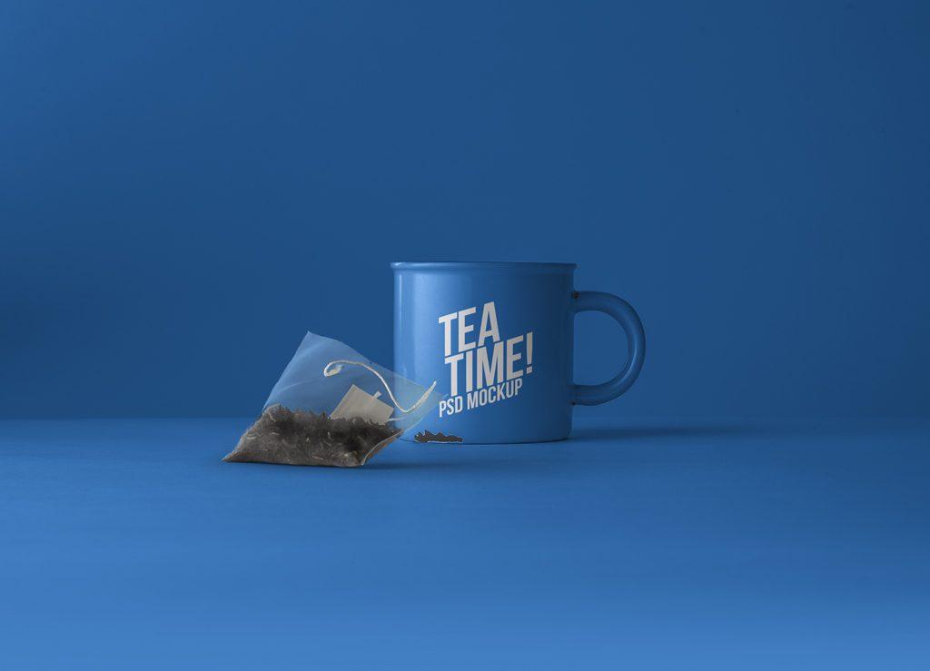 PSD мокап кружки. tea cup with tea bag mockup