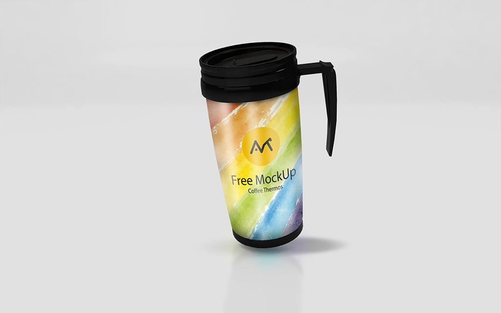 Мокап термокружки. thermos mug mockup