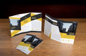Мокап евробуклета. trifold brochure mockup