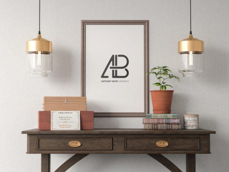 Мокап рамки на стене. poster frame mockup