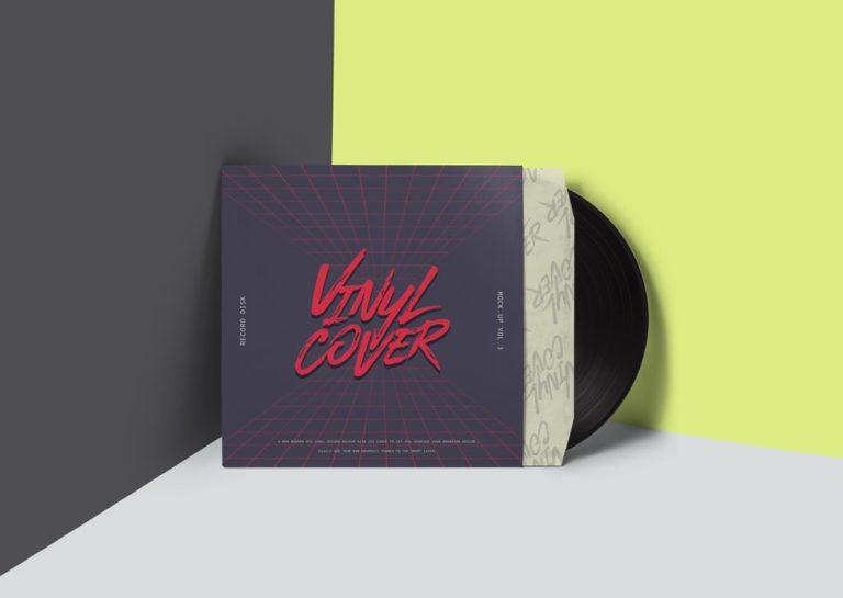 Мокап виниловой пластинки. vinyl cover record mockup