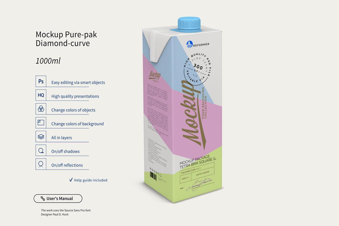 Мокап коробки тетра пак. milk box mockup