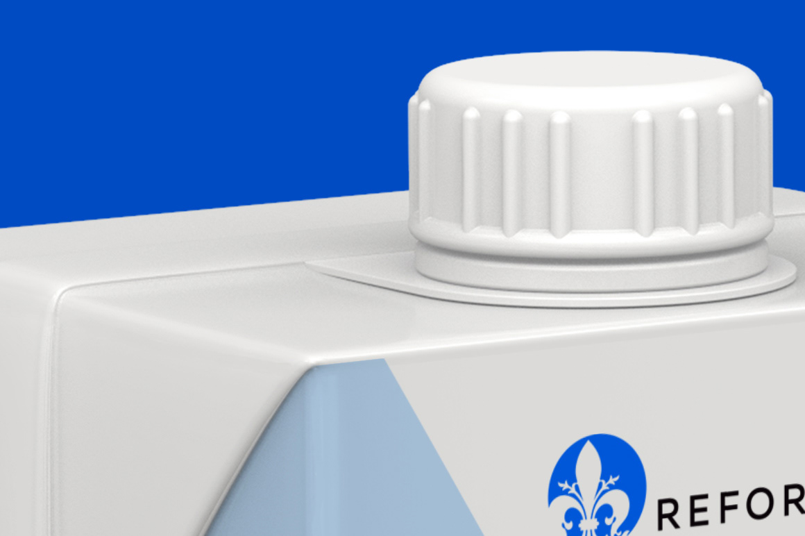 Мокап коробки тетра пак с крышкой. milk box mockup