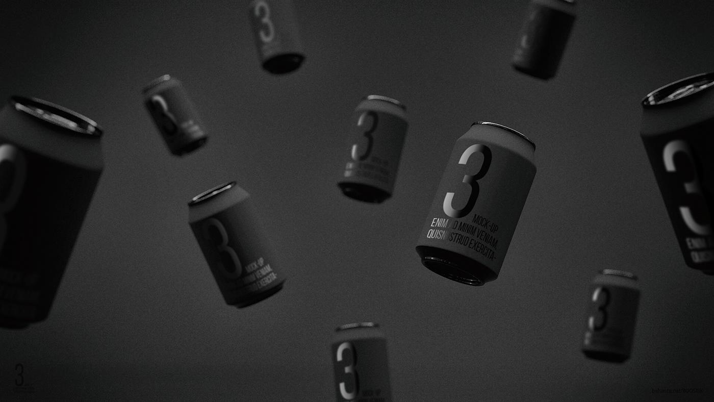 Мокап банок газировки. flying soda cans mockup