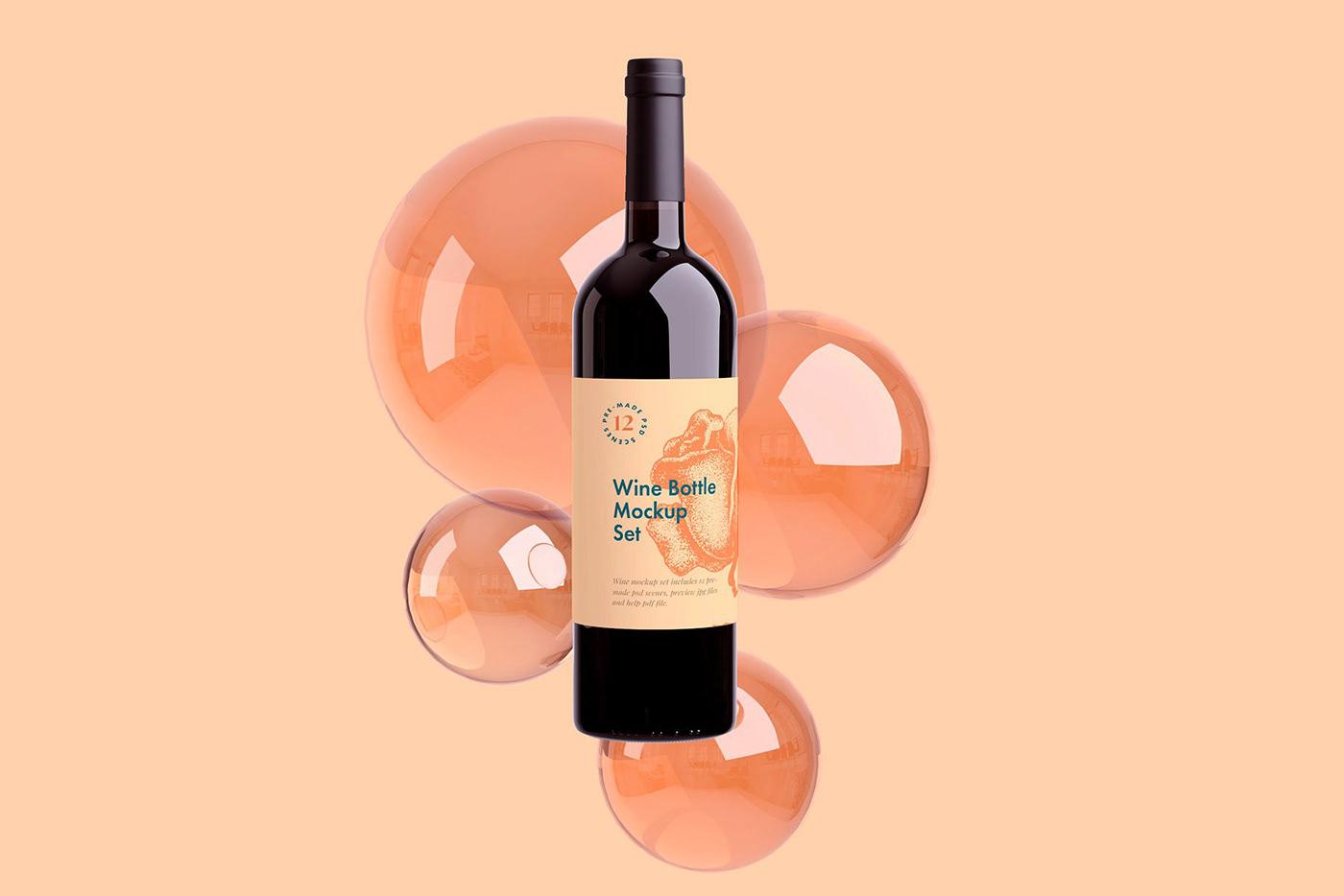 PSD мокап вина. wine bottle mockup