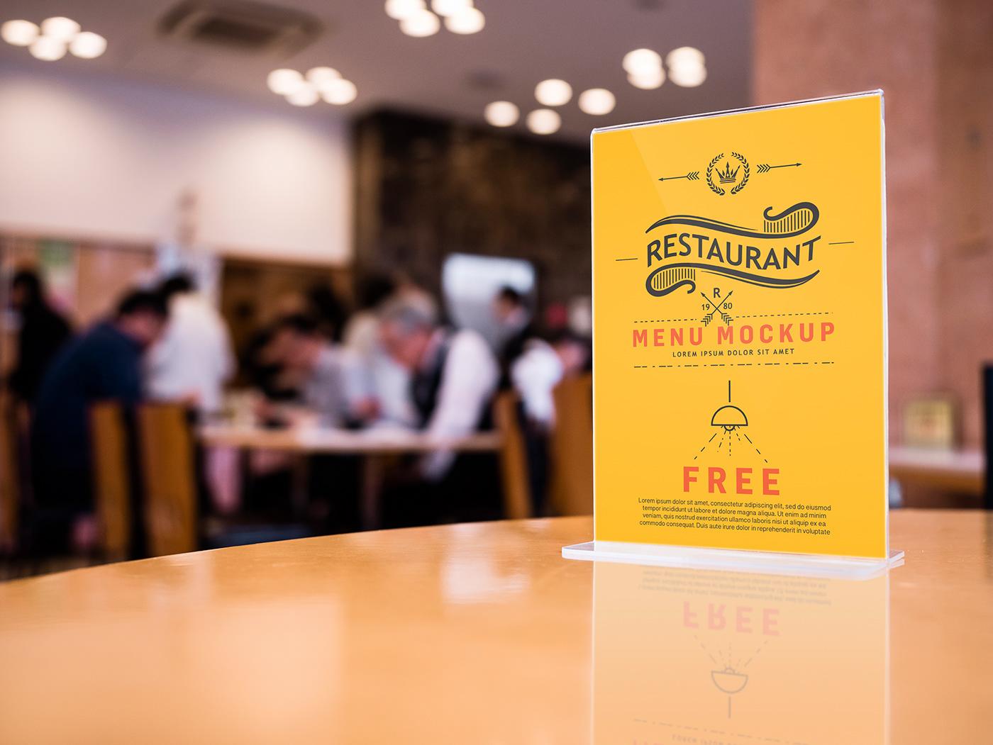 Мокап меню в кафе. restaurant menu card holder mockup