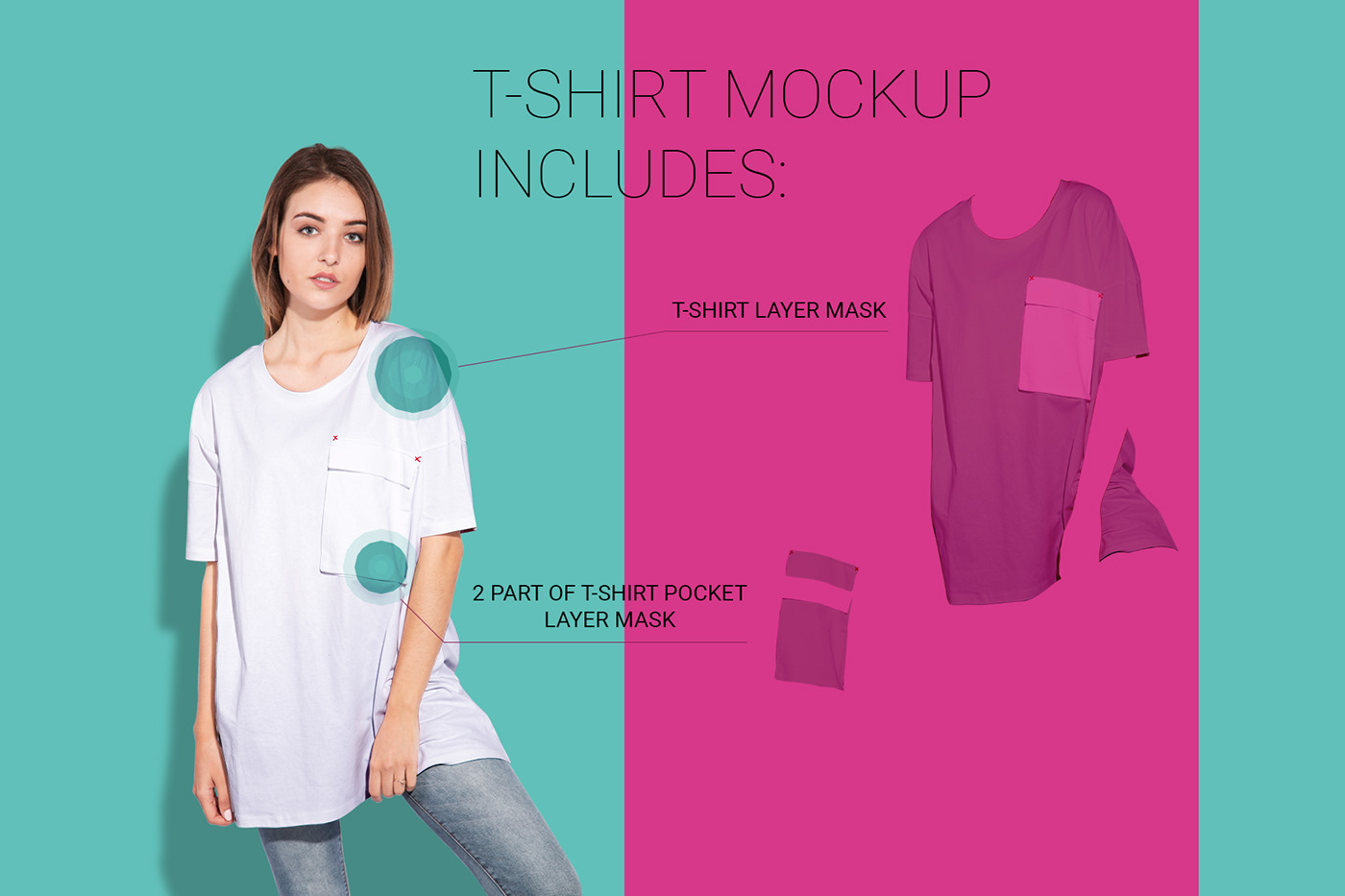 Мокап женской футболки. women oversized t-shirt mockup