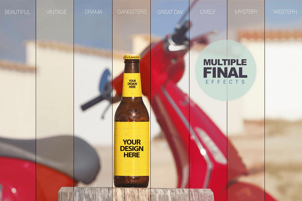 PSD мокап бутылки пива. beer bottle mockup
